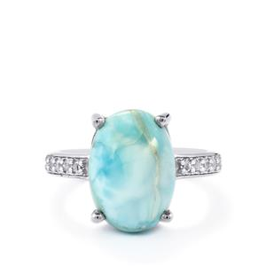 Larimar & White Topaz Sterling Silver Ring ATGW 6.66cts