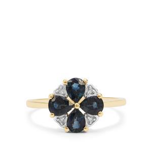 Australian Blue Sapphire & Diamond 9K Gold Ring ATGW 1.49cts