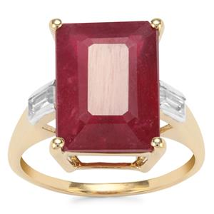 Malagasy Ruby Ring with White Zircon in 10K Gold 10cts (F)