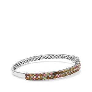 Rainbow Tourmaline Oval Bangle in Platinum Plated Sterling Silver 4.75cts