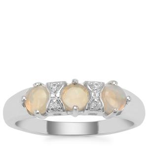 Coober Pedy Jelly Opal Ring with White Zircon in Sterling Silver 0.53ct