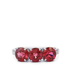 Malawi Garnet Ring with Diamond in 14k White Gold 3.61cts
