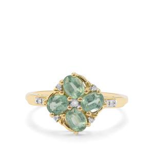 Odisha Kyanite & Diamond 9K Gold Ring ATGW 1.44cts