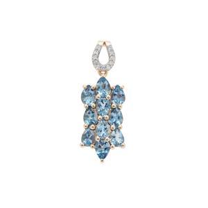 Nigerian Aquamarine Pendant with Diamond in 9K Gold 1.50cts