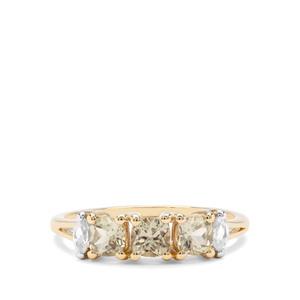 Csarite® & Ratanakiri Zircon 9K Gold Ring ATGW 1.17cts