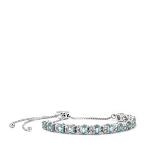 7.49ct Ratanakiri Blue Zircon Sterling Silver Slider Bracelet