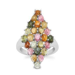 Pederneira Multi-Colour Tourmaline Ring in Sterling Silver 4.61cts
