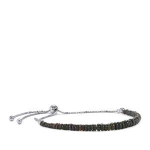 5.50ct Ethiopian Midnight Opal Sterling Silver Slider Graduated Bead Bracelet