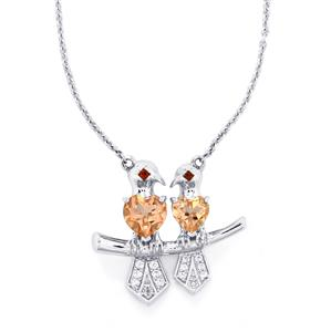 Galileia Topaz, Mozambique Garnet & White Zircon Sterling Silver Capped Chickadee Bird Necklace ATGW 2.61cts