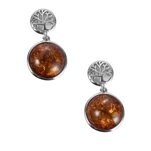 Baltic Cognac Amber Earrings in Sterling Silver (13mm)