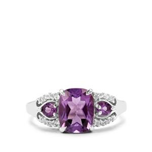 Ametista Amethyst & White Topaz Sterling Silver Ring ATGW 3.08cts