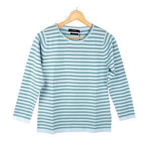Daryl by Destello 100% Cotton Destello Mandy Knitwear (Crew Neck Stripe Pullover) (Teal)