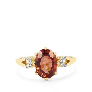 Zanzibar Sunburst Zircon Ring with White Zircon in 9K Gold 2.81cts