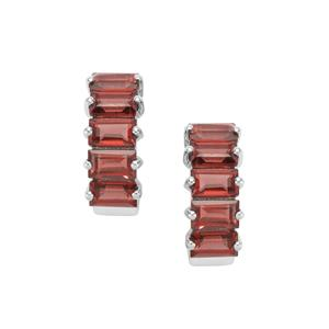 Rhodolite Garnet Earrings in Sterling Silver 4.26cts
