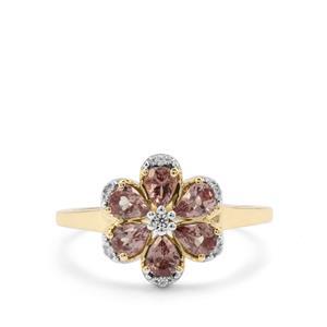 Bekily Colour Change Garnet & White Zircon 9K Gold Ring ATGW 1.09cts