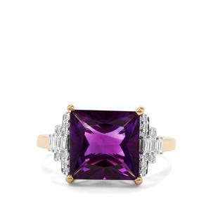 Moroccan Amethyst & Diamond 18K Gold Tomas Rae Ring MTGW 4.12cts