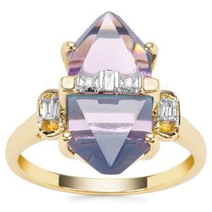 Lehrer Cosmic Obelisk Rose De France Amethyst, Sleeping Beauty Turquoise Ring with Diamond in 9K Gold 6.57cts