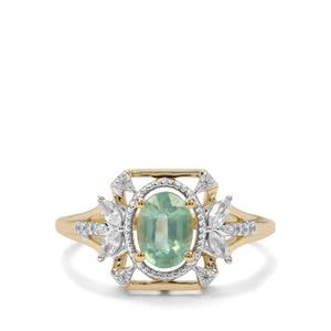 Odisha Kyanite & White Zircon 9K Gold Ring ATGW 1.16cts