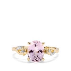 Kolum Kunzite & Diamond 9K Gold Ring ATGW 2.52cts