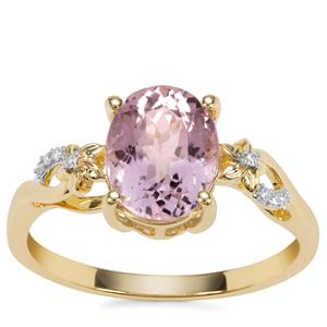Kolum Kunzite Ring with Diamond in 9k Gold 2.52cts