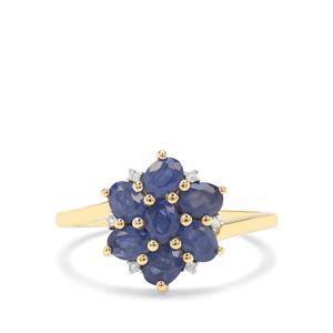 Burmese Blue Sapphire & Diamond 9K Gold Ring ATGW 1.76cts