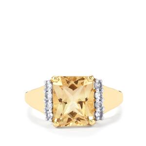 Red Flash Serenite Ring with Ceylon White Sapphire in 10K Gold 3.07cts