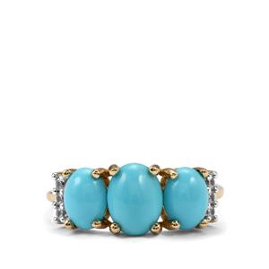 Sleeping Beauty Turquoise & White Zircon 9K Gold Ring ATGW 2.44cts