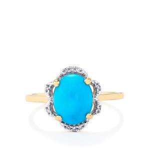 Sleeping Beauty Turquoise Ring with Diamond in 9K Gold 2.48cts