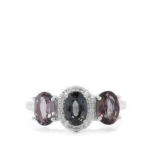 Mogok Silver Spinel Ring with White Zircon in Sterling Silver 2.88cts