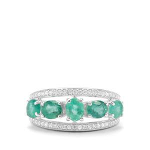 Zambian Emerald & White Zircon Sterling Silver Ring ATGW 1.89cts