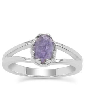 Rose Cut Tanzanite Ring in Sterling Silver 1.15cts