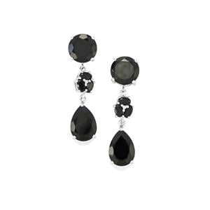 Black Spinel Earrings in Sterling Silver 26.92cts