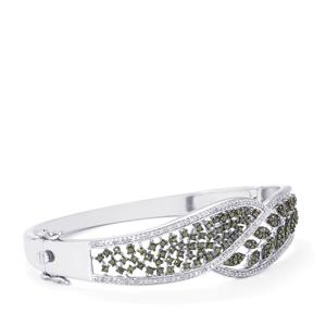 Green Diamond Oval Bangle with White Diamond in Sterling Silver 1.70ct