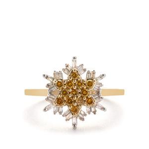 Diamond Ring with Yellow Diamond in 9K Gold 0.51ct