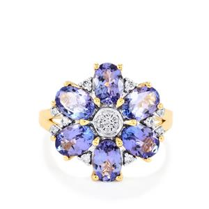 AA Tanzanite Ring with Diamond in 18k Gold 3.58cts