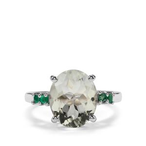 Prasiolite Ring with Luhlaza Emerald in Sterling Silver 4.15cts