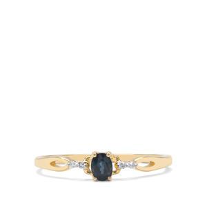 Natural Nigerian Blue Sapphire & Diamond 9K Gold Ring ATGW 0.25cts