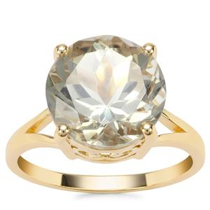 Prasiolite Ring in Gold Plated Sterling Silver 5.60cts