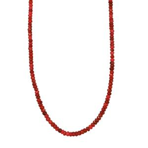 44ct Luc Yen Red Spinel Sterling Silver Bead Necklace