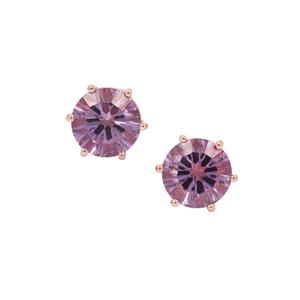 Rose De France Amethyst Earrings in Rose Gold Plated Sterling Silver 3.79cts