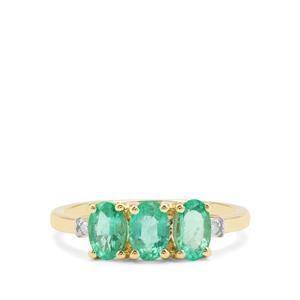 Ethiopian Emerald Ring with Diamond in 9K Gold 1.14cts