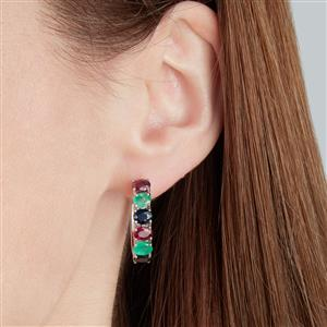Madagascan Ruby, Sakota Emerald Earrings with Blue Sapphire in Sterling Silver 4.94cts (F)