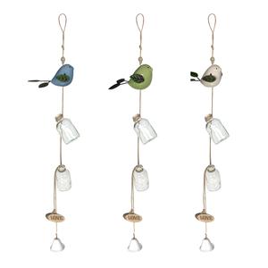 Bird Hanging Garden Decoration With Glass Flower Bud Jars & Green Jade Bead ATGW 7cts