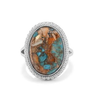 Oyster Copper Mojave Turquoise Ring in Sterling Silver 11cts
