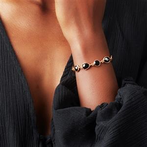 Black Onyx Slider Bracelet in Gold Plated Sterling Silver 17.17cts