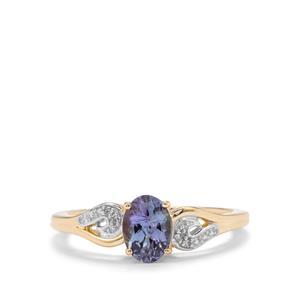 Bi Colour Tanzanite & Diamond 10K Gold Ring ATGW 0.85cts