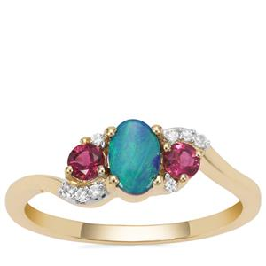 Crystal Opal on Ironstone Ring with Pink Tourmaline & White Zircon in 9K Gold