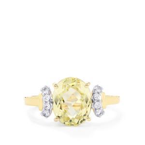 Canary Kunzite & White Zircon 10K Gold Ring ATGW 3.47cts