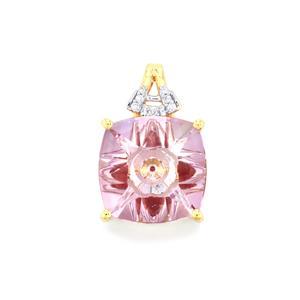 Lehrer KaleidosCut Rose De France Amethyst, Thai Ruby Pendant with Diamond in 10K Gold 5.43cts