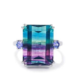 Zebra Fluorite Ring with AA Tanzanite in Sterling Silver 16.05cts